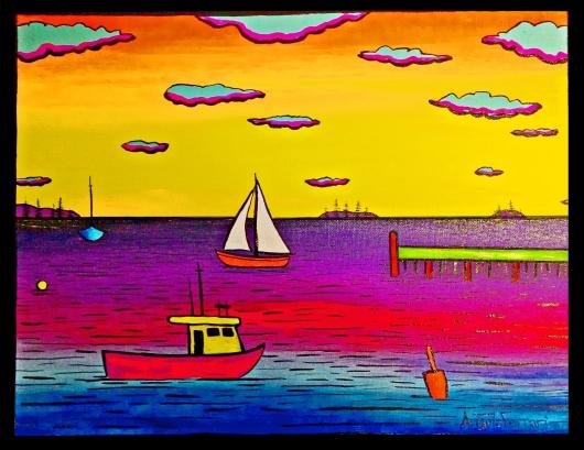 Casco Bay in Neon 11''x14'' $220