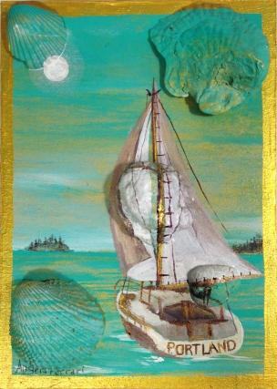 Portland Sailboat in Seafoam 5''x7'' $65